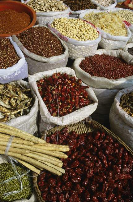 Spice Market with sacks outdoors — Stock Photo