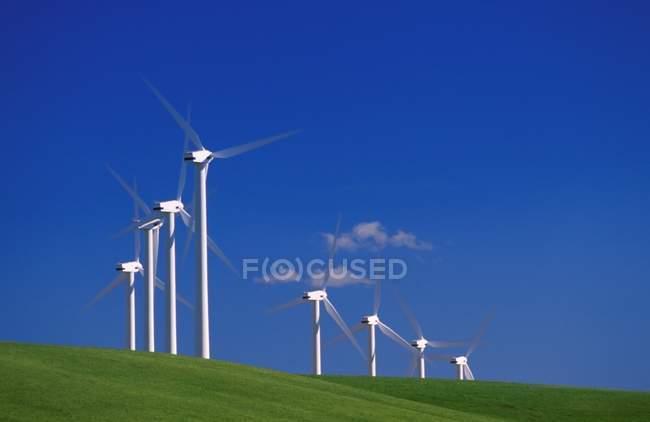 Wind Turbines on gren grass — Stock Photo