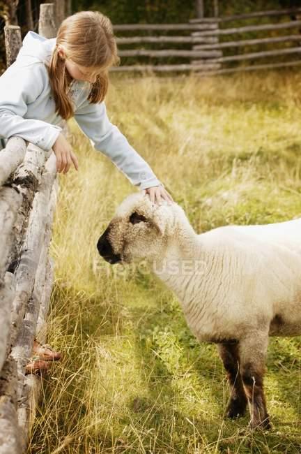 Bambino con agnello — Foto stock