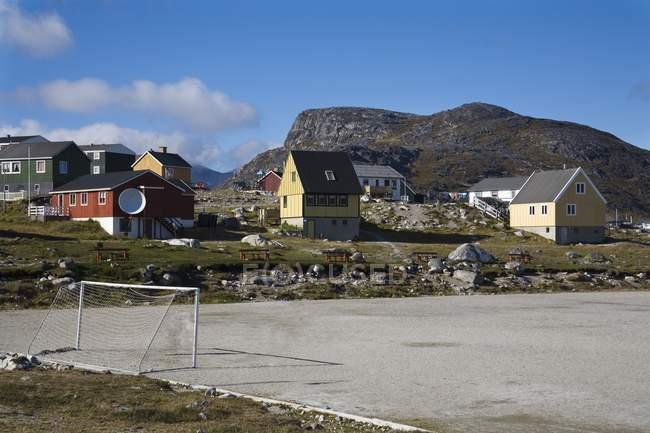 Soccer Field, Port Of Nanortalik — Stock Photo
