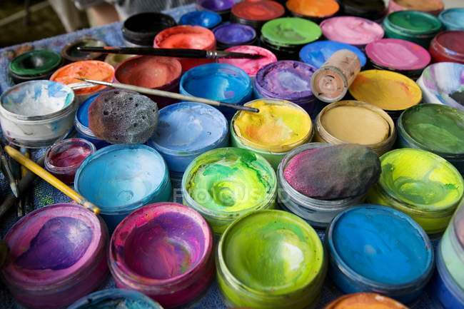 Painting Supplies in cases indoors — Stock Photo