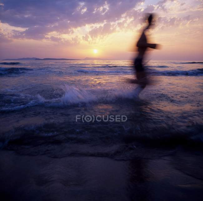 Silhouette Of Man Running — Stock Photo