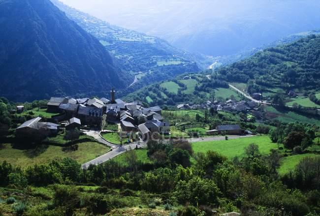 Village And Valley In Switzerland — Stock Photo