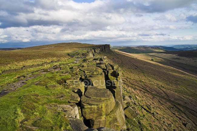 Vista Lungo Stanage Edge, Derbyshire, Inghilterra — Foto stock