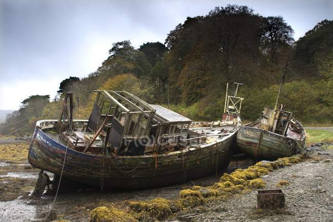 Two Old  Abandoned Boats — Stock Photo