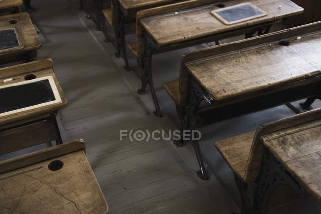 old school in desks vintage desk classroom photo stock focused