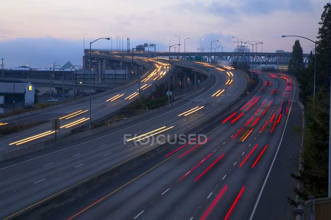 Blurred Traffic On Highway — Stock Photo