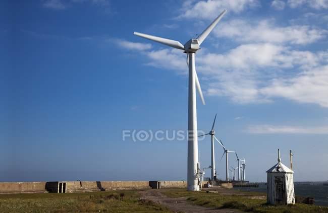 Wind Turbines On Pier — Stock Photo