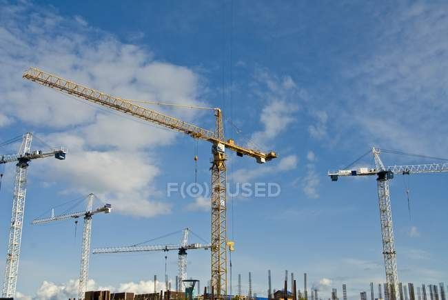 Cranes working during daytime — Stock Photo