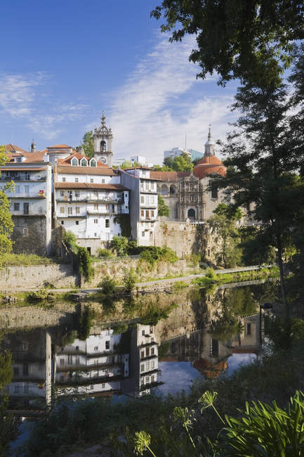 Historic Buildings Reflected In Tamega River — Stock Photo