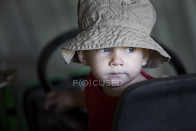 Closeup Portrait Of Young Boy Wearing Hat — Stock Photo