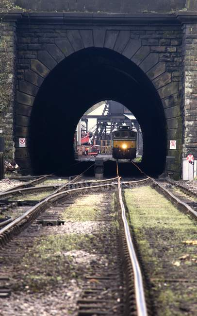Train In Tunnel on background — Stock Photo
