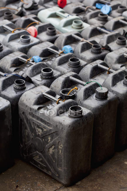 Plastic Fuel Containers — Stock Photo