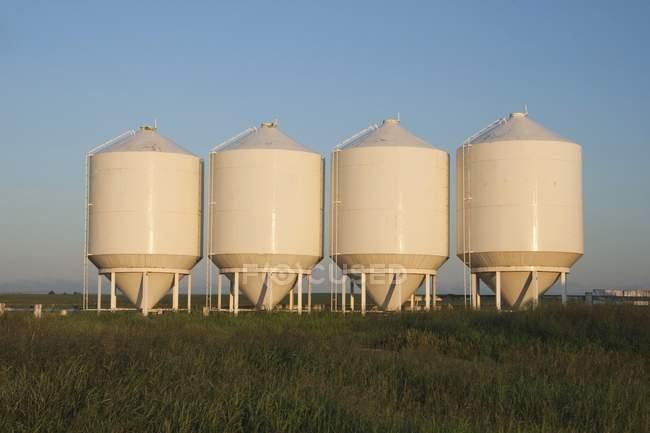 Рядок білий метал Бункери зерна — стокове фото