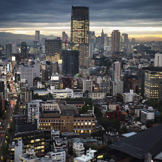 Ligne d'horizon au crépuscule à Tokyo — Photo de stock