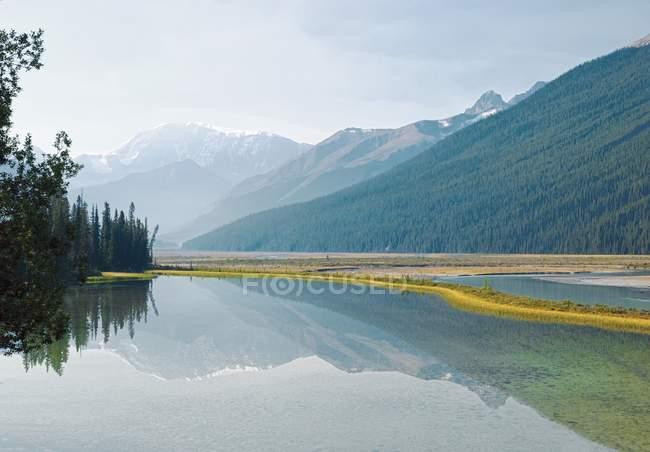 Montagne rocciose canadesi riflettuti nella bellezza Creek — Foto stock