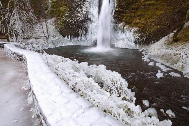Winter Ice Storm By Latourell Falls — Stock Photo