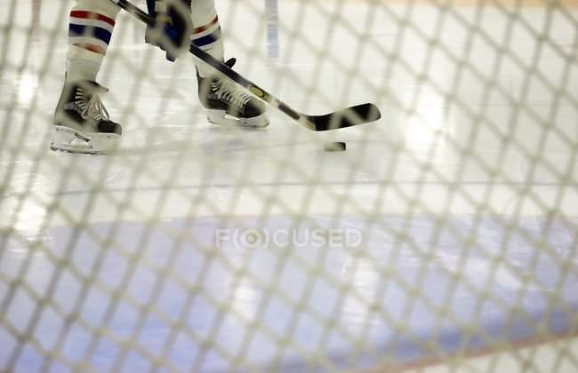 Recortar imagen de jugador de Hockey cerca portero neta - foto de stock