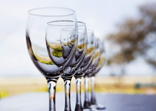 Wine Glasses In A Row — Stock Photo