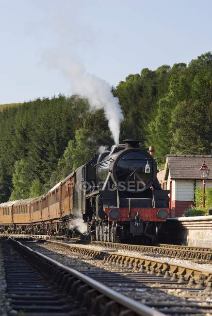 Train on railway with steam — Stock Photo