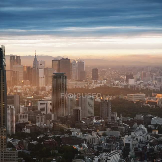 Ligne d'horizon au coucher du soleil, Tokyo, Japon — Photo de stock