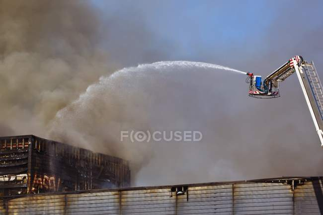 Fighting Fire Which Burned — Stock Photo