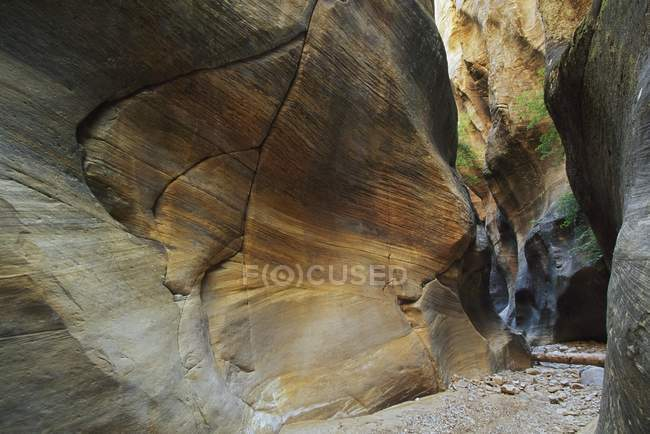 Sandstone Formation In Narrow Canyon — Stock Photo