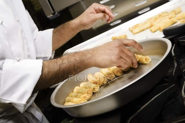 Chef doing Meal Preparation in kitchen — Stock Photo