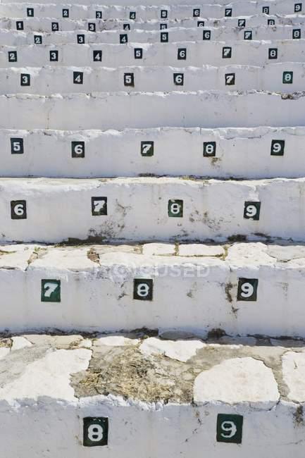 Asientos de la Plaza de toros en el estadio - foto de stock