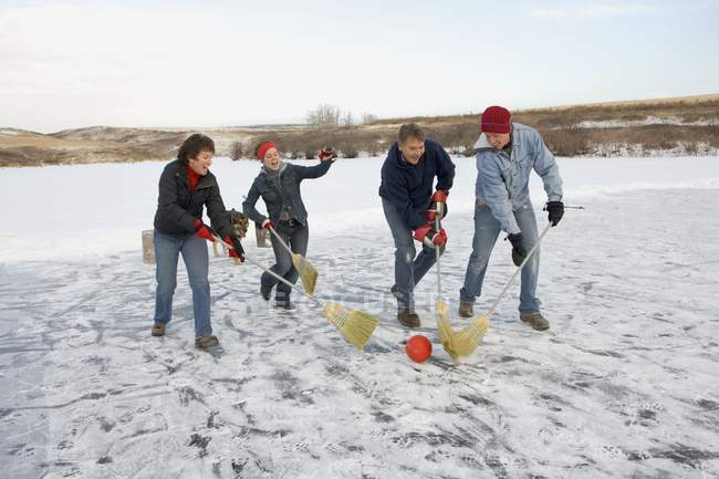 Happy Caucasian Family At Winter Weekend Playing In Ball With Brooms — Stock Photo