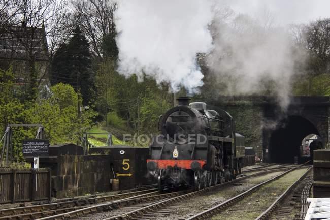 Treno sulla ferrovia durante il giorno — Foto stock