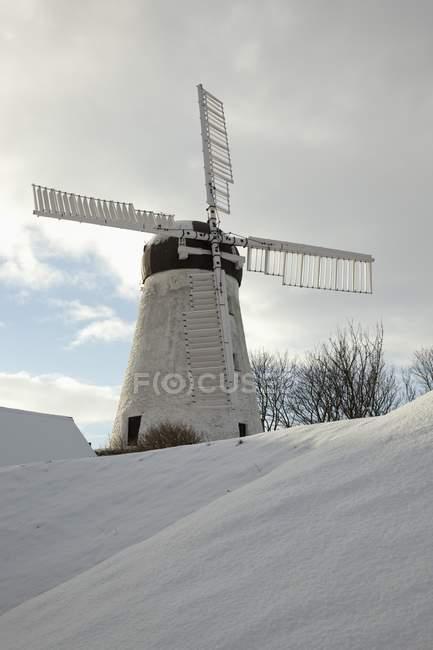 Mulino a vento In inverno sulla neve — Foto stock