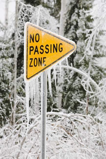 Segno di via coperta di ghiaccio — Foto stock