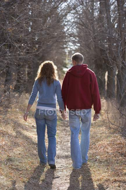 Rear View Of Couple Walking While Holding Hands — Stock Photo