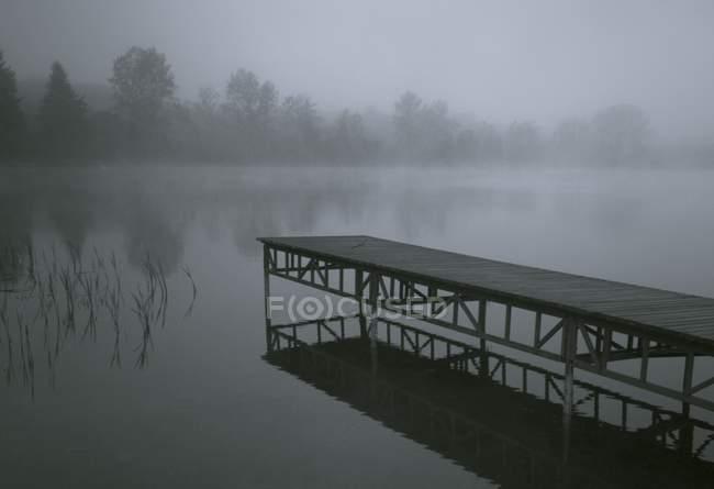 Quai avec brouillard sur le lac — Photo de stock