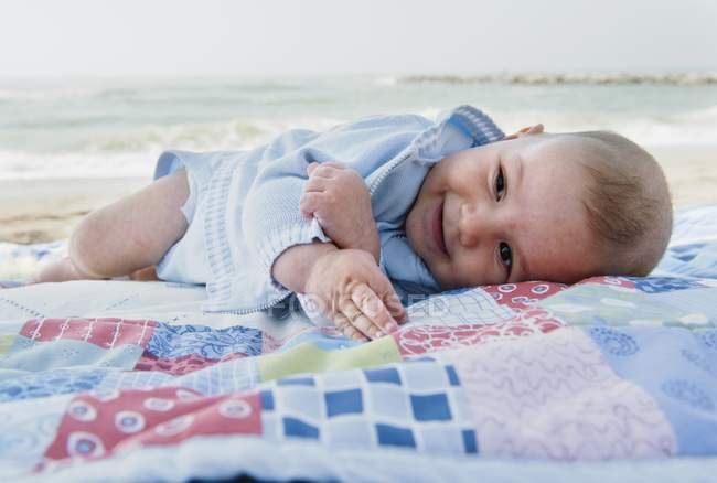 Baby Boy Laying On Blanket On The Beach, Malaga, Andalusia, Spain — Stock Photo