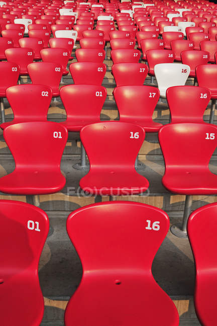 Red seating in rows with numbers — Stock Photo
