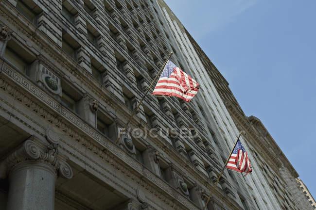 Низкий угол зрения американских флагов — стоковое фото