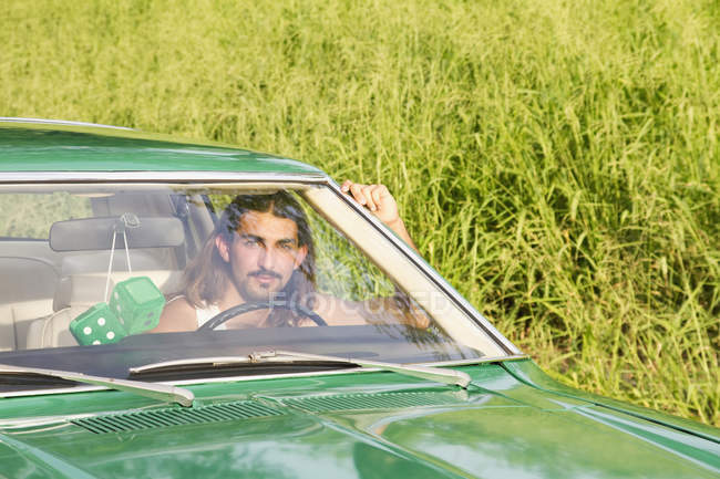 Young Man Drives — Stock Photo