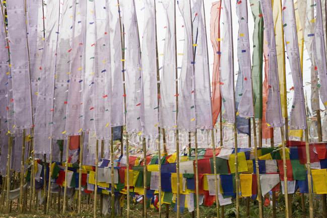 Буддийские молитвы флаги в монастыре — стоковое фото