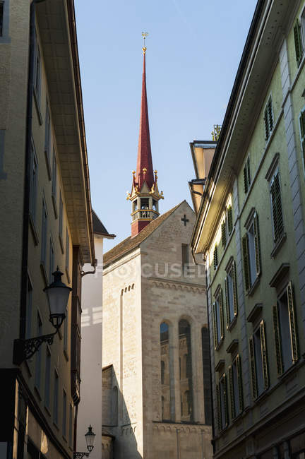 Various buildings and steeple — Stock Photo