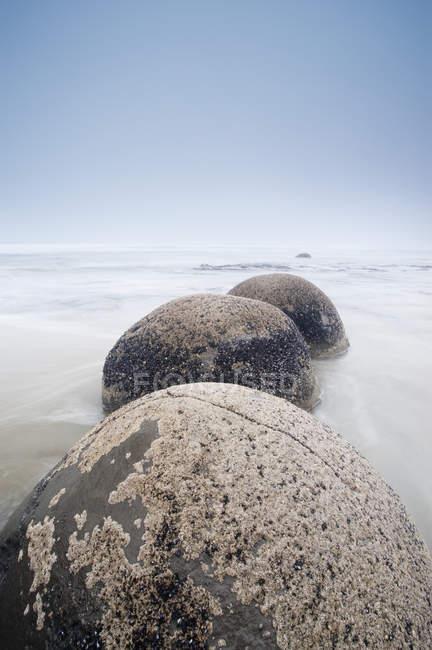 Валуны в ряд в мелководье — стоковое фото