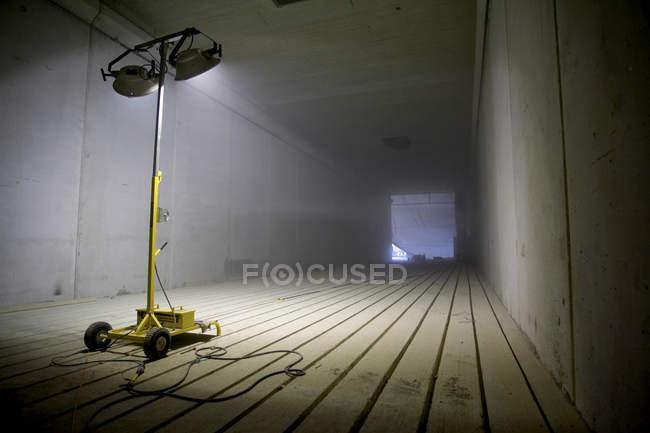 Light Tower Illuminating Tunnel — Stock Photo