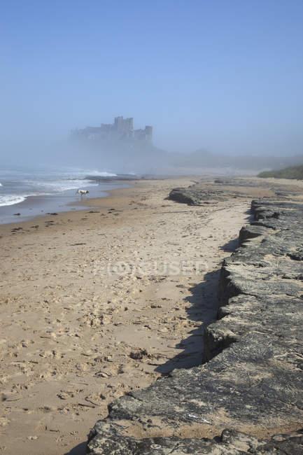 Bamburgh Castle Through The Fog — Stock Photo