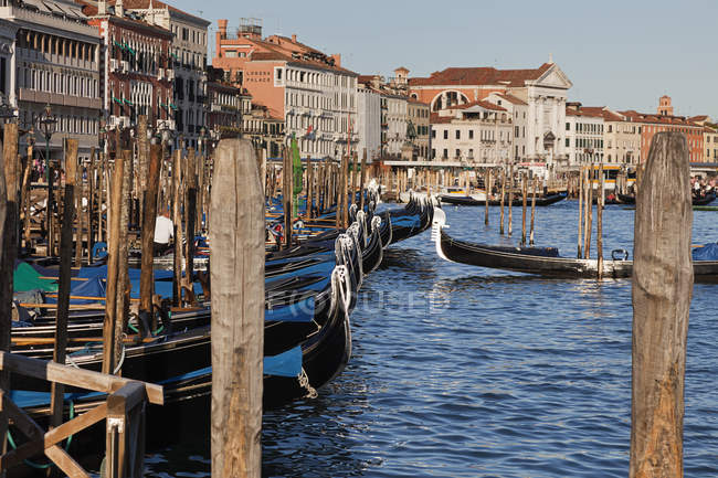 Гондолы вдоль гавани в Венеции — стоковое фото