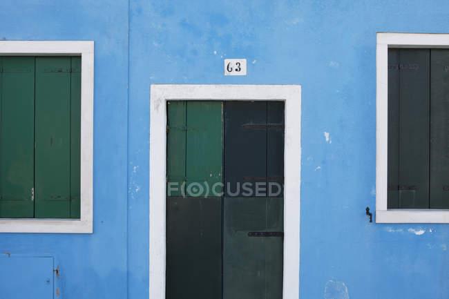 Persiane in legno verde — Foto stock