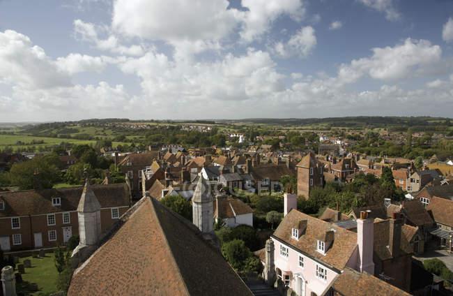 Prédios com telhados — Fotografia de Stock