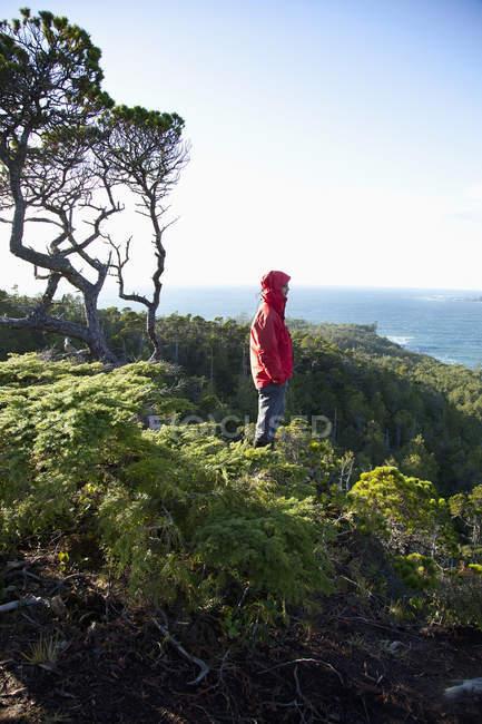 Чоловік, одягнений Червоний жакет біля затоки Кокс, Tofino, Британська Колумбія, Канада — стокове фото