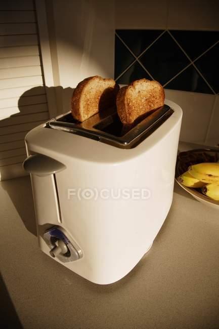 Хліб тости в тостер на кухні — стокове фото