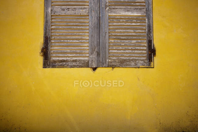 Wooden Shutters On Wall — Stock Photo